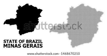 Halftone and solid map of Minas Gerais State collage illustration. Vector map of Minas Gerais State composition of x-cross spots on a white background.