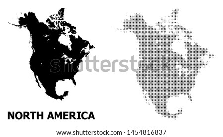 Halftone and solid map of North America collage illustration. Vector map of North America composition of x-cross items on a white background. Abstract flat territorial scheme for education purposes.