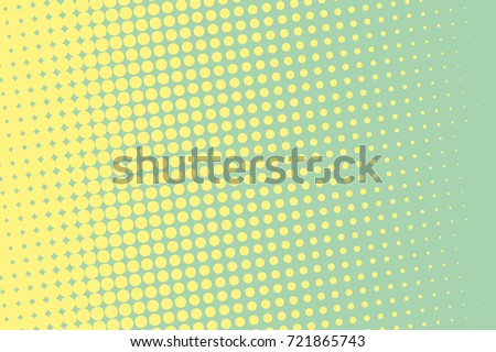 Halftone background. Comic dotted pattern. Pop art retro style. Backdrop with circles, rounds, dots, design element for web banners, posters, cards, wallpapers. Green-mint and yellow color