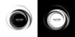 Halftone circle dotted frame circularly distributed set. Abstract dots logo emblem design element. Round border Icon using random halftone circle dot  texture. Half tone circular background pattern.