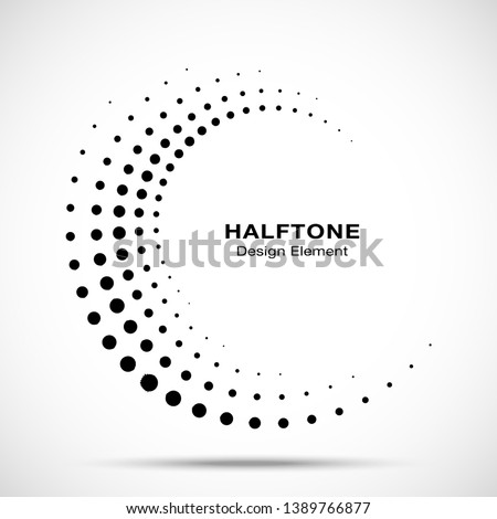 Halftone circle dotted frame circularly distributed. Vector dots logo emblem design element. Round border Icon using random halftone circle dot raster texture. Half tone circular background pattern.