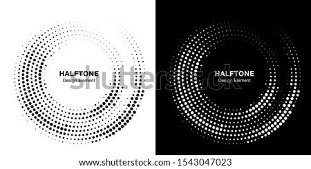 Halftone circle dotted frame circularly distributed. Vector dots logo emblem design set. Round border Icon using random halftone circle dot raster texture. Half tone circular background pattern.