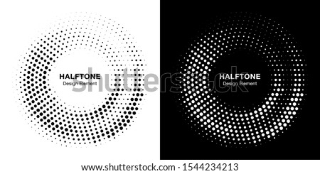 Halftone circle dotted frame circularly distributed. Vector dots logo emblem design set. Round border Icon using random halftone circle dot raster texture. Half tone circular background pattern.