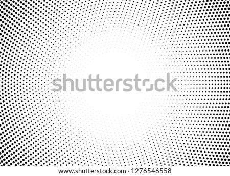 Halftone circle frame horizontal background. Black circular border using halftone dots texture. Vector illustration.