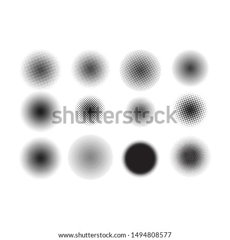 Halftone Circles, Halftone set, Halftone Dot Pattern Vector On White Background