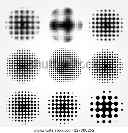 Halftone circles vector set.