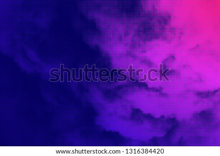 Halftone clouds with vivid gradients. Vector graphic effect background.