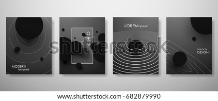 Halftone,3d, black and white covers design,gradients, balls shapes. Tech cover,futuristic banner, future template,abstract flyer, poster,trendy presentation, brochure. Vector geometric illustration #682879990
