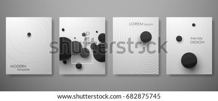 Halftone, 3D, Minimal covers design,gradients, ball shapes.  Vector geometric illustration #682875745