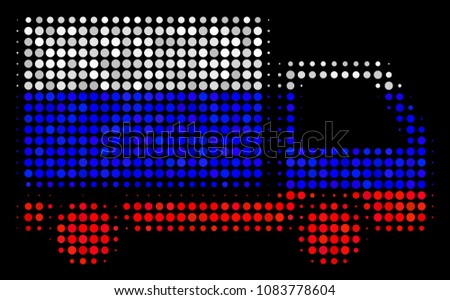 Halftone Delivery Lorry icon colored in Russia state flag colors on a dark background. Vector mosaic of delivery lorry icon composed from round dots.