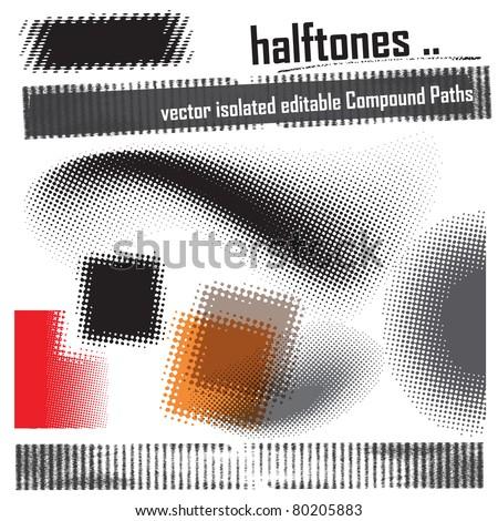 halftone design elements - set