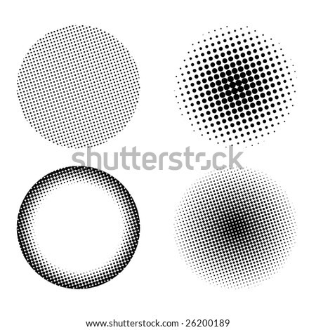 Halftone design elements set isolated on a white background