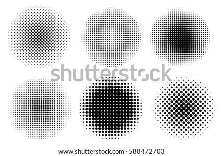 Halftone design elements.Vector halftone circles.