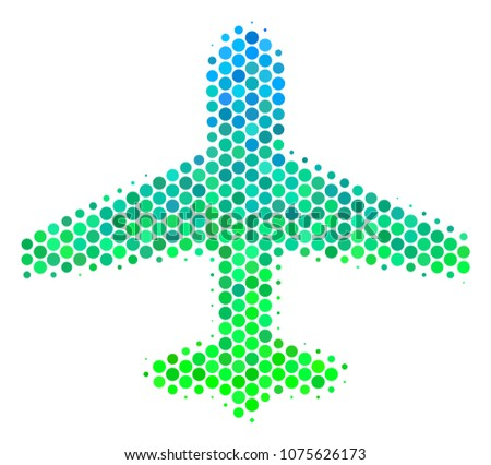 halftone dot airplane pictogram