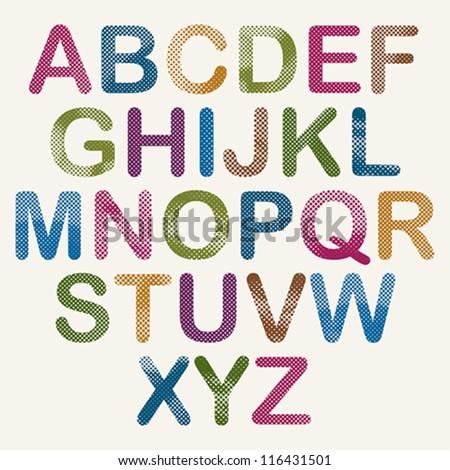 Halftone dots font, pixels print texture letters, vector alphabet.