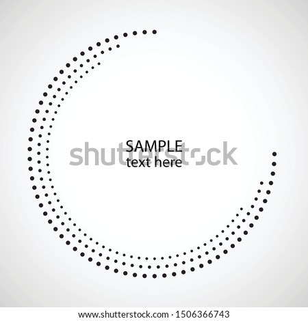 Halftone dots in circle form. round logo . vector dotted frame . design element