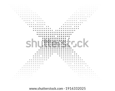 Halftone dots in Cross Form . Vector Illustration. Letter x  Logo . Design element . Abstract Geometric shape .