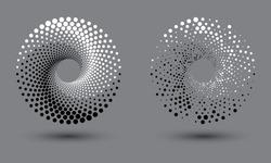 halftone dots spiral like yin and yang symbol