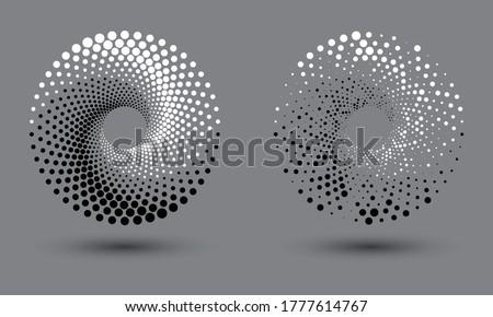 halftone dots spiral like yin and yang symbol Stock photo ©