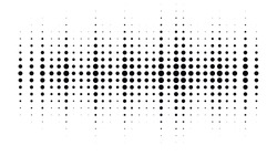 Halftone dotted audio equalizer. Halftone effect vector pattern. Circle dots. Sound wave design element isolated on white background.