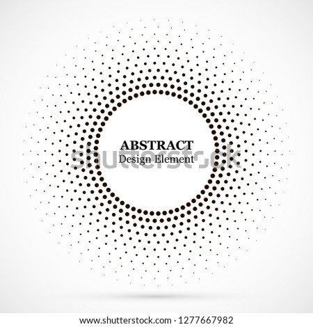 Halftone dotted background circularly distributed. Halftone effect vector pattern. Circle dots isolated on the white background.Border logo icon. Draft emblem for your design.