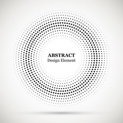 Halftone dotted background circularly distributed. Halftone effect vector pattern for your design. Circle dots isolated on the white background for advertisement.