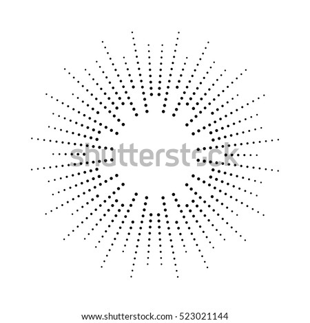 Halftone effect vector illustration. Black dots on white background. Black and white Sunburst background. Abstract dotted background.