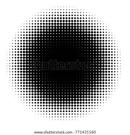 Halftone element isolated on white background. Circular halftone pattern. Radial gradient. Vector illustration