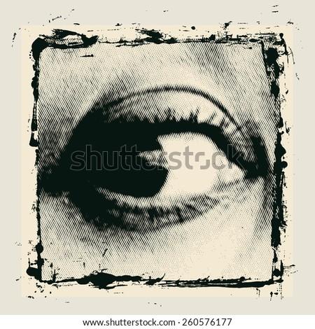 halftone female eye in grunge