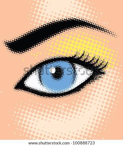 Halftone girl eye - vector illustration