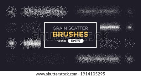 Halftone grain scatter brushes set. Noise vanishing. Grunge texture. Vector illustration eps10. Spray dots. Creative artistic brush collection. Basic kit. Ink paint strokes.
