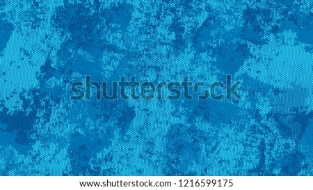 Halftone Grainy Texture with Grunge Dots and Spots. Retro Spotted Pattern. Scatter Style Texture. Blue Noise Fashion Print Design Background. #1216599175