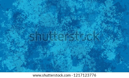 Halftone Grunge Dotted Rough Stripes Texture. Distressed Grungy Pattern Design. Faded Dyed Style Texture. Blue Noise Fashion Print Design Pattern. #1217123776