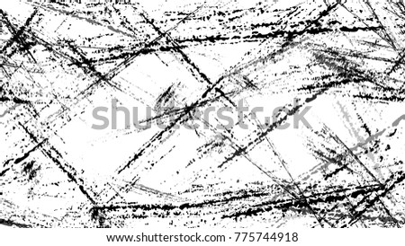 Halftone Grunge Vector Seamless Black and White Texture. Distress, Rough Grungy Seamless Pattern Design. Overlay Rust Metal Texture. Plaster, Ink Paint  Print Design Background.