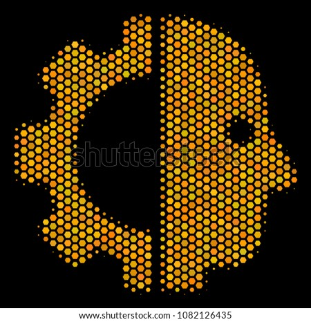 halftone hexagon cyborg head