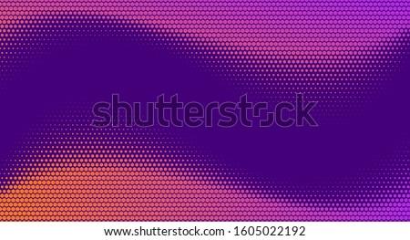 Halftone Hexagon Fade Effect. Retrowave Technology Background. Halftone Hex Simple Pattern. Pop-Art Halftone Gradient. Vector Illustration. Dynamic Retro Tech Wallpaper.