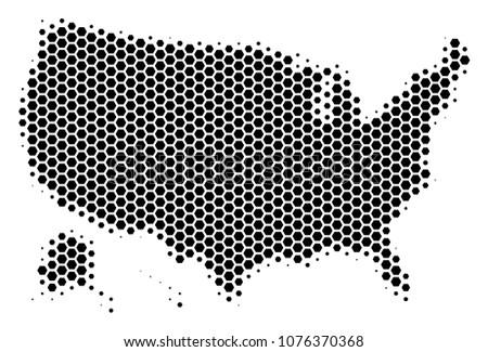 halftone hexagon usa with