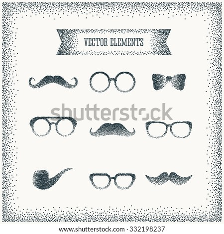 halftone hipster icon over