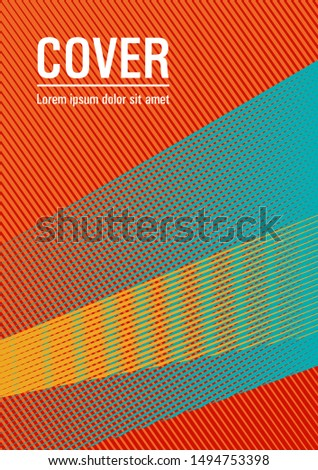 Halftone lines placard background graphic design. Bauhaus minimal placard background. Rectangle leaflet box card. Digital stylish outlet backdrop. Stationery notebook cover design.