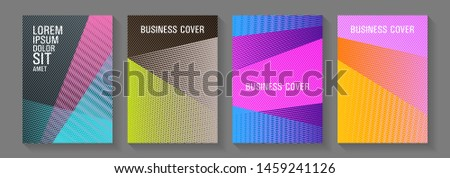 Halftone lines placard backgrounds design. Technological 2d backdrops. 2d abstract shapes tech compositions. Advanced brand cover templates set. Dynamic technological wallpapers.
