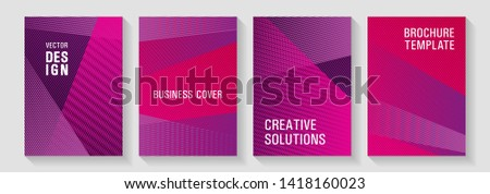 Halftone lines texture vector prints. Covers set with logo identity spaces. Digital stylish outlet backdrops. Scientific journals concept. Marketing catalog creative mockups.