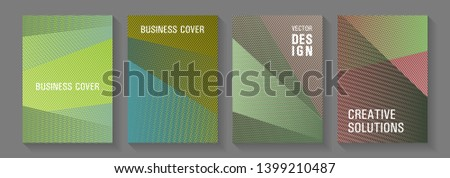 Halftone lines texture vector prints. School notebook cover templates set. Triangle element layers modern patterns. Corporate branding leaflets. Vibrant gradient book backdrops.