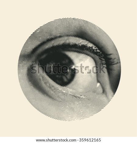 halftone male eye in the circle
