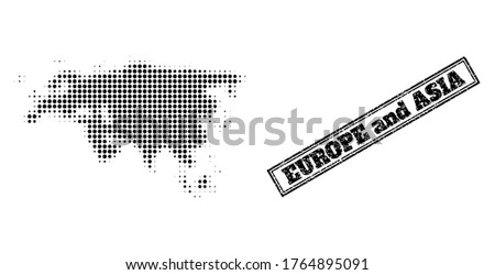 Halftone map of Europe and Asia, and unclean seal stamp. Halftone map of Europe and Asia made with small black round dots. Vector seal with unclean style, double framed rectangle, in black color.