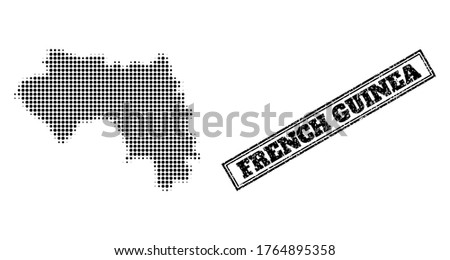 Halftone map of French Guinea, and unclean seal stamp. Halftone map of French Guinea constructed with small black round pixels. Vector seal with unclean style, double framed rectangle, in black color.