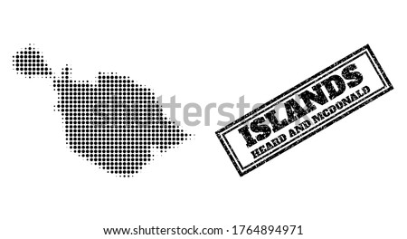 Halftone map of Heard and McDonald Islands, and unclean watermark. Halftone map of Heard and McDonald Islands designed with small black circle dots. Vector watermark with grunge style,
