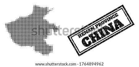 Halftone map of Henan Province, and unclean seal stamp. Halftone map of Henan Province generated with small black round elements. Vector seal with unclean style, double framed rectangle,