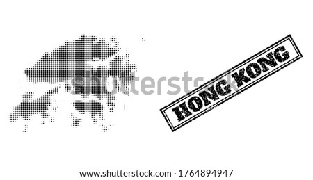 Halftone map of Hong Kong, and unclean watermark. Halftone map of Hong Kong constructed with small black circle points. Vector watermark with unclean style, double framed rectangle, in black color.