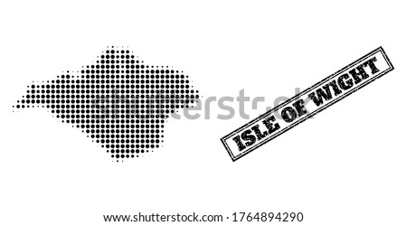 Halftone map of Isle of Wight, and unclean watermark. Halftone map of Isle of Wight made with small black round elements. Vector watermark with unclean style, double framed rectangle, in black color.