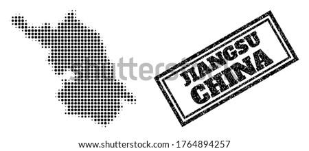 Halftone Map of Jiangsu Province, and unclean stamp. Halftone Map of Jiangsu Province made with small black spheric points. Vector imprint with unclean style, double framed rectangle, in black color.